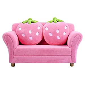 Super Costzon Kids Sofa With 2 Cute Strawberry Pillows Children Couch Armrest Chair Double Seats Toddler Lounge Bed 2 In 1 Wooden Frame And Coral Fleece Dailytribune Chair Design For Home Dailytribuneorg
