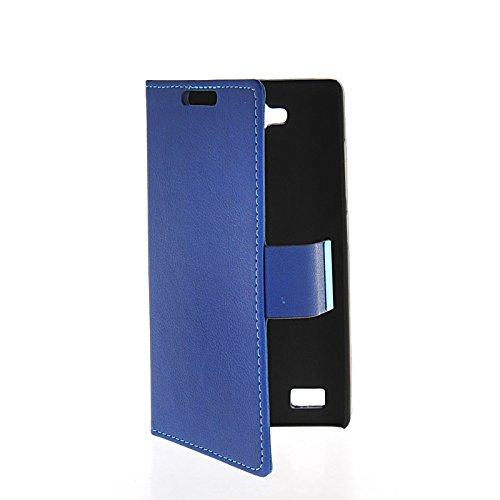 LINTAO Leather Wallet Flip Card Stand Side Pouch Back Case Cover For Huawei Honor 3C Blue