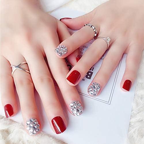 Tivollyff ファッション花嫁の偽の爪取り外し可能な偽の爪かわいい偽の爪ショートサイズレディーフルネイルのヒント