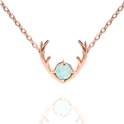 PAVOI 14K Rose Gold Plated Native American Jewelry White OPAL Deer Antler Necklace 16-18