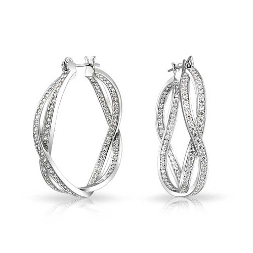 Infinity Knot Inside Out Twist Pave CZ Prom Pageant Large Hoop Earrings For Women Silver Plated Brass 1.65 In Dia