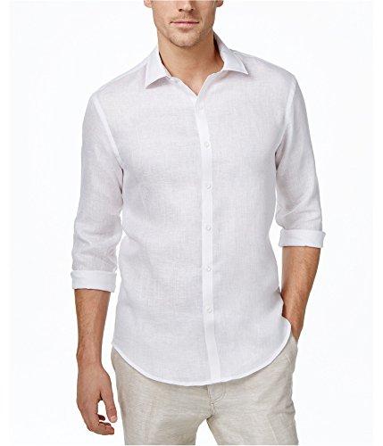 Tasso Elba Mens Textured Linen Button Up Shirt whitecombo 2XL -