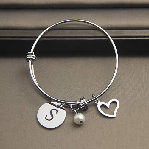 EIGSO Initial Bracelet Letter Bracelet with Heart Charm Memory Bracelet Jewelry Gift for her (BR-S) … by EIGSO (Image #8)