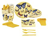 Butterfly Party Supplies – Serves 24 – Includes Plates, Knives, Spoons, Forks, Cups and Napkins. Perfect Birthday Party Pack for Girls Themed Parties, Butterfly Pattern