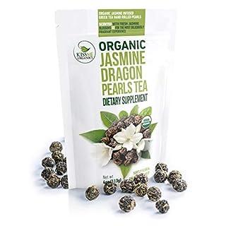 Jasmine Dragon Pearls Green Tea - Premium Flavor Organic Tea Jasmine Pearls Loose Leaf Tea Hand Rolled - 4 Ounces
