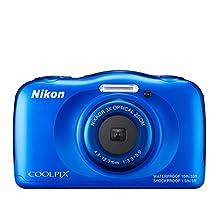 Nikon COOLPIX S33 Waterproof Digital Camera, Blue (Renewed)