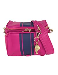 Cynthia Rowley Finn Leather Camera Crossbody, Rose Stripe