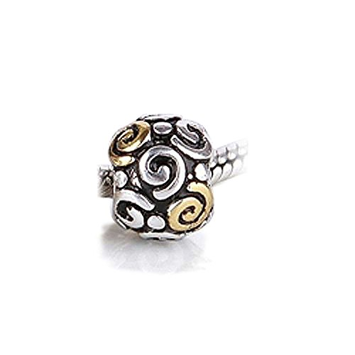 Gold Plated Two Toned Round Spiral Swirl Tribal Charm Bead .925 Sterling Silver