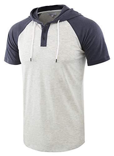 Vetemin Men's Casual Short Raglan Sleeve Henley Jersey Hoodie Baseball T Shirt H.Oatmeal/C.Blue L