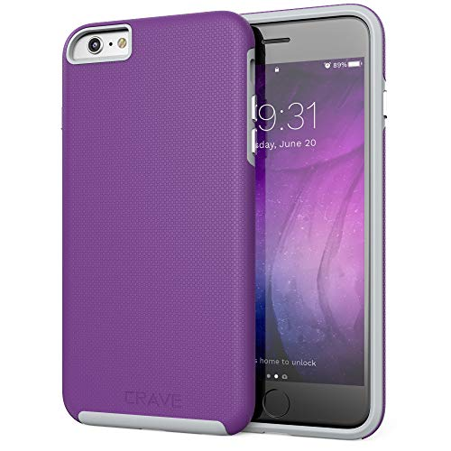 Crave iPhone 6S Plus Case, Dual Guard Protection Series Case for iPhone 6 6s (5.5 Inch) - Purple/Gray
