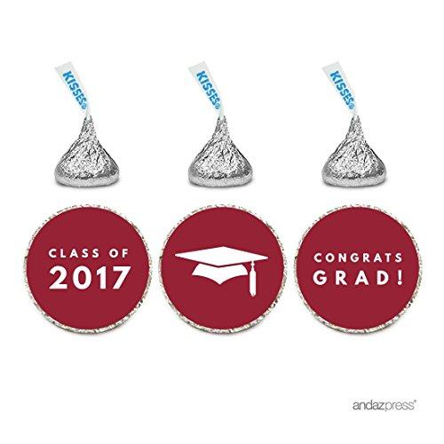 Andaz Press Chocolate Drop Labels Trio, Fits Hershey's Kisses Party Favors, Graduation 2017, Burgundy, 216-Pack, Decor, Decorations, Envelope (Graduation Envelope Seals)