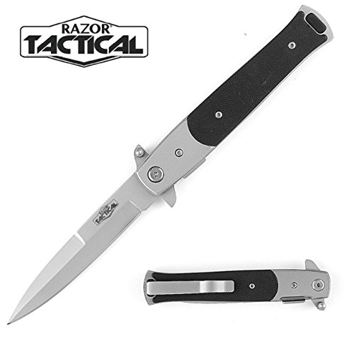 Razor Tactical Spring Assist G10 Folding Knife, Black, 4.75