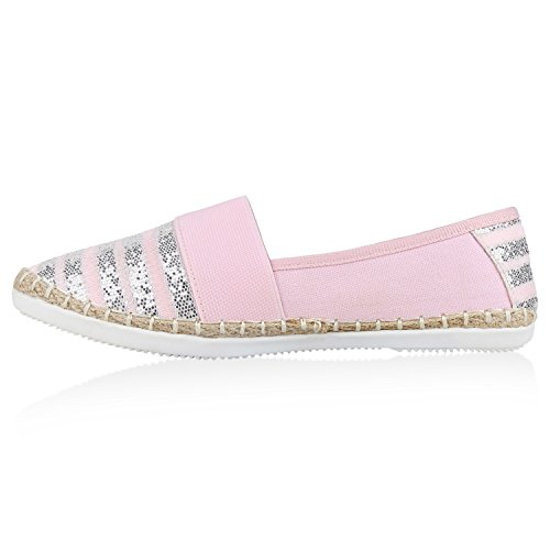 Damen Espadrilles Bast Slipper Glitzer Streifen Sommer Schuhe 133173 Rosa 40 Flandell eBMjldgAo