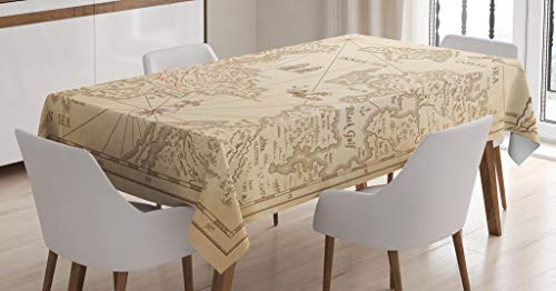 Ambesonne Island Map Decor Tablecloth, Detailed Treasure Map with Unique Nautical Symbols Discovery Exploration Decorations Print, Rectangular Table Cover for Dining Room Kitchen, 60x84 Inches, Beige