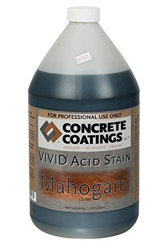 VIVID Acid Stain - 1 Gal - Mahogany (Deep Rust, Terra Cotta) (Best Concrete Stain Brand)