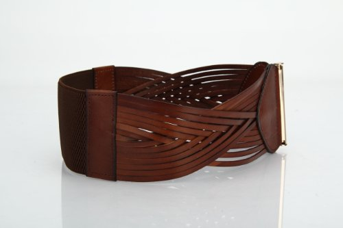 Women's Korean Style Simple Fashion Leather Wide Weave Belt (Brown) by RUI (Image #4)