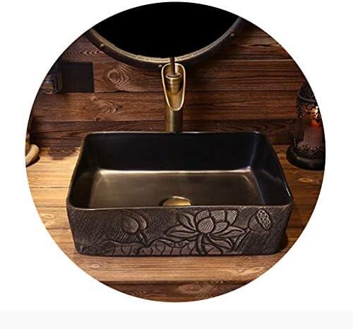 浴室設備アクセサリ 容器シンク 浴室船舶のシンク 平方セラミックバスルームの洗面台 レトロカウンター盆地 オフィスシンク (Color : B.Sink*1+Faucet*1, Size : 46*35*15cm)