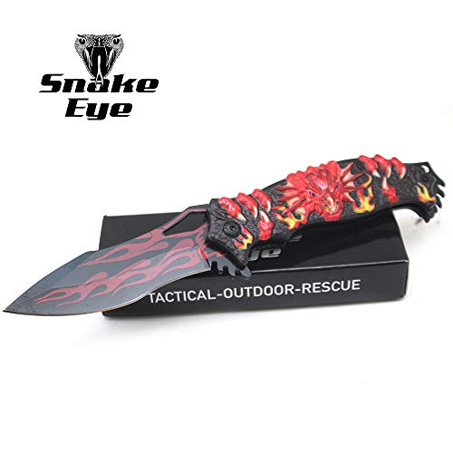 Snake Design - Snake Eye Tactical Fantasy Flaming Dragon Design Folding Knife | Outdoor Survival Pocket Knife | Small one-Hand Knife Made of Stainless Steel Blade| Ideal for Recreational Work Hiking Camping (Red)