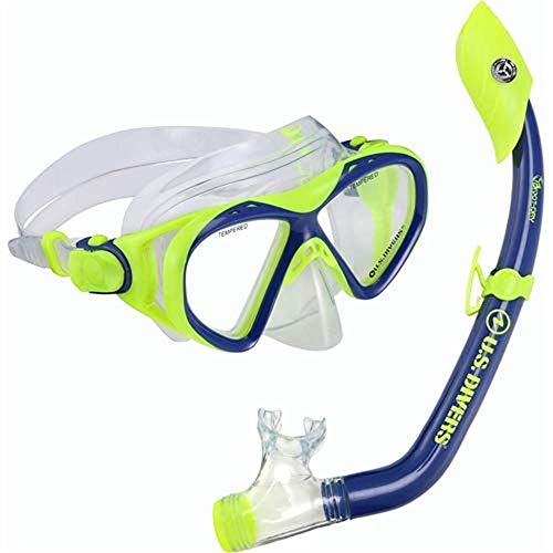 US Diver Unisex Pro Coral and Island Dry Mask and Snorkle Combo, Kids, Blue/Neon Yellow, ()