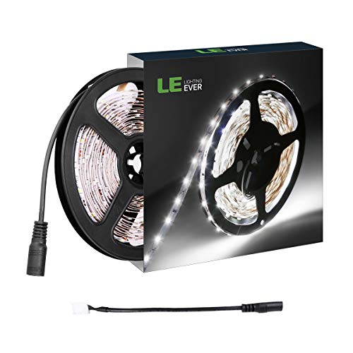 Large Product Image of LE 12V LED Strip Light, Flexible, SMD 2835, 16.4ft Tape Light for Home, Kitchen, Party, Cabinet and More, Non-waterproof, Daylight White