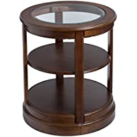 Contemporary Style Round Shaped Tempered Glass Top Side End Table with 2 Storage Shelves | Wooden Legs, Brown Finish, Home Decor - Includes Modhaus Living Pen