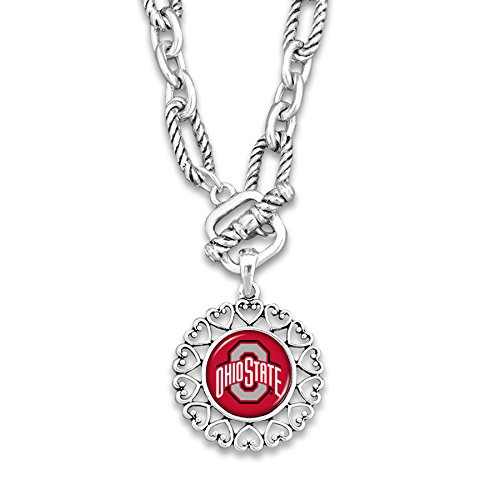 FTH Ohio State Buckeyes Silver Tone Necklace With Round Logo Charm Outlined in Hearts