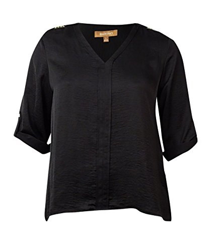 Ellen Tracy Women's Studded Roll-Tab Charmeuse Top (L, Black)