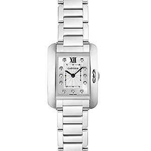 Cartier tanque Anglaise acero inoxidable con diamantes reloj de pulsera de mujer w4ta0003 12