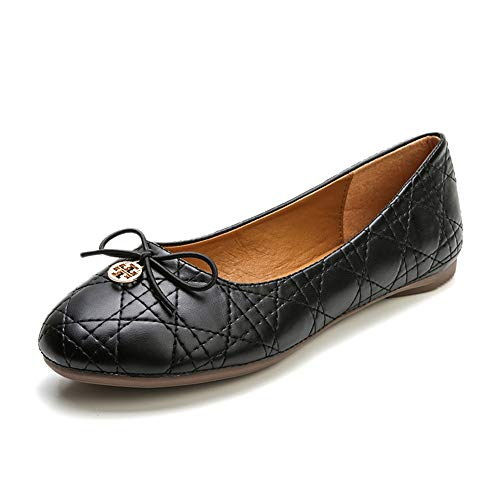 (Meeshine Womens Round Toe Bowknot Ballet Comfort Slip on Flats Shoes (Classic Black) US 9.5)