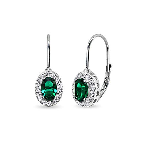 n 6x4mm Oval Halo Leverback Earrings Made with Swarovski Crystals ()
