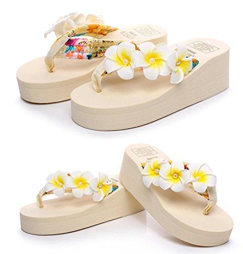 YOUJIA Mujeres Boho Flores Chanclas Verano Playa Zapatos de cuña Plataforma Zapatillas #6 Beige