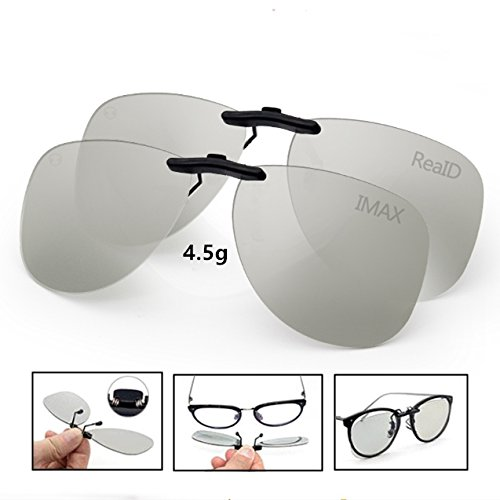 Projector Theater Lens No (3D Viewing Surprise For Eyewear Users | Bigger 3D Glasses Clip On Glasses For Movie/Cinema/Theater/3D TV/3D Projector | 100% NO visual interference | Lightest And Most Comfortable | 2 PACK(RealD&IMAX))