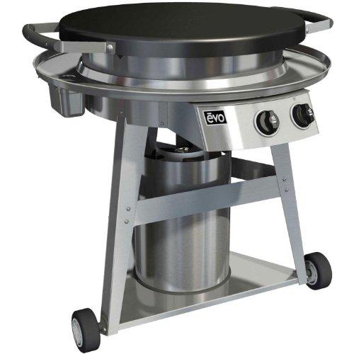 EVO Professional Series Gas Grill on Cart (10-0002-LP), Seasoned Steel Cooktop, Propane