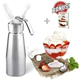 ZOEMO Professional Whipped Cream Dispenser 250ml (N2O Cartriges NOT INCLUDED) - Cream Whipper With Sturdy Aluminum Body And Head - Half Pint Whipper Creates 2-3 Pints of Fresh Whip Cream