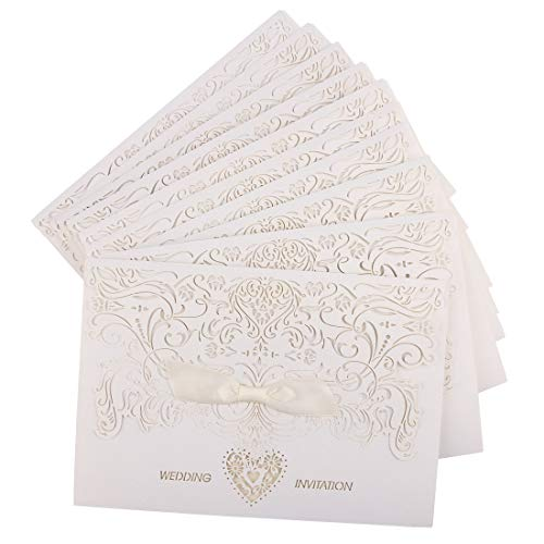 DriewWedding 20pcs Wedding Invitation Cards, White Laser Cut Three Pages Design for Engagement,Baby Shower, Marriagement,Christmas Party