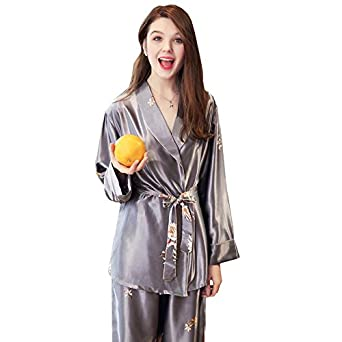 e3d6ee00e2 Yalli Women's 3 Piece Faux Silk Satin Pajamas Sleepwear Robe Camisole  Nightgown Sleep Wear Dress Pants