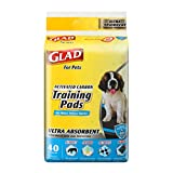 Glad for Pets FFP9714ST Glad For Pets Ultra-Absorbent Activated Carbon Training Pads with Folded Edges, 40 Count   Best Pee Pads for All Dogs and Puppies, Black