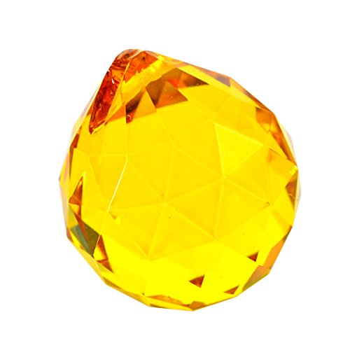- 40mm Crystal Ball Prisms for Chandelier, Ceiling light, Christmas Tree , Window display, Wedding Display, Curtains W Fengshuisale Red String Bracelet (Yellow)
