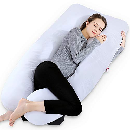 Meiz 55 Inch Pregnancy Pillow - U Shaped Body Pillow - for Pregnant Women and Baby Sleeping - with Cotton Cover - Elegant White