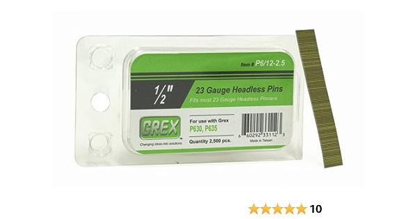 2,500 per box GREX P6//22-2.5 23 Gauge 7//8-Inch Length Headless Pins