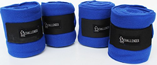 Horse Tack Grooming Leg Polo Wrap Set of 4 Soft Fleece Blue Equine Care 95R12