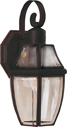 Maxim 4011CLBU South Park 1-Light Outdoor Wall Lantern, Burnished Finish, Clear Glass, MB Incandescent Incandescent Bulb , 50W Max., Damp Safety Rating, 2900K Color Temp, Standard Dimmable, Glass Shade Material, 3900 Rated Lumens
