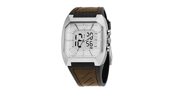 Adidas ADH1825 Gents Blanco Digital Correa de Piel Color marrón Reloj: Amazon.es: Relojes