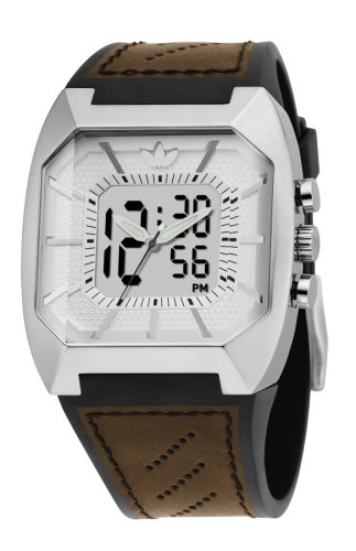 adidas ADH1825 Gents Blanco Digital correa de piel color marrón reloj: Amazon.es: Relojes