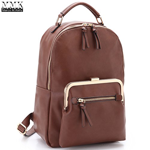 MMK Collection Retro Fashion Women Backpack Vegan Leather Double Front Pockets~Great Laptop Backpack/Qualified Hiking and Travel Backpack~Designer Handbag(MA-XL-06-7565-CF)