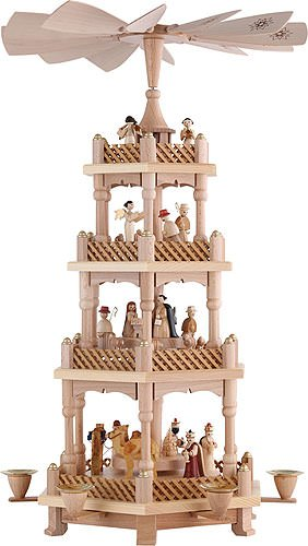 4 Tier Natural Wood Nativity Scene and Angels Pyramid by Richard Glaesser