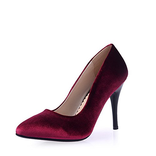 Toe Pull Imitated Closed Women's On Shoes Spikes Suede Claret WeiPoot Solid Pointed Stilettos Pumps 4TWqzBpx