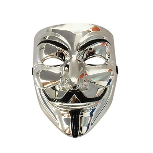 Anonymous Guy V for Vendetta Guy Fawkes Costume Cosplay Mask with Vinyl Sticker Mask for Parties (Silver) -