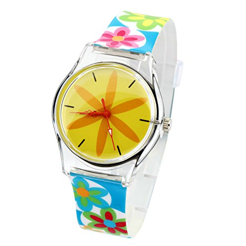 ELEOPTION Watches for Girls Teens Lovely Analog Quartz Silicone Wrist Watches Waterproof Causal Style with Comfortable Resin Band for Girls Young Students Gifts (Colorful-Flower)