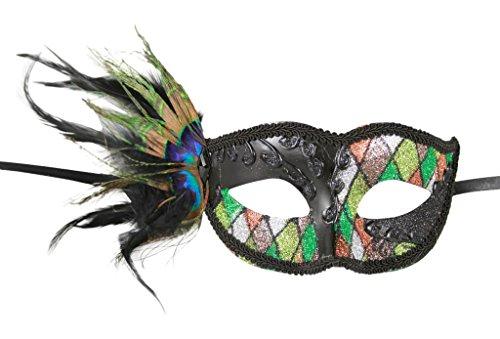 [KAYSO INC Mardi Gras Inspired Black Half Face Venetian Masquerade Mask w/ Feathers] (Swan Princess Costume)